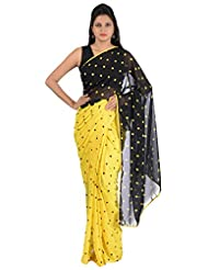 Akash Traders Women's Fleece Saree (V.T013, Free Size, Yellow And Black)