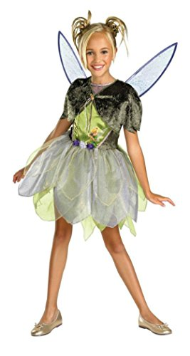 Girls Tinker Bell Deluxe Kids Child Fancy Dress Party Halloween Costume