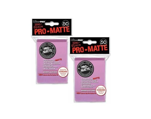 Ultra Pro PRO-MATTE (100 Count) Pink Deck Protector Sleeves - Magic the Gathering - 1