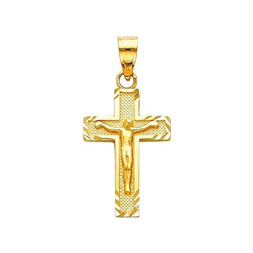 14K Yellow Gold Jesus Cross Religious Charm Pendant