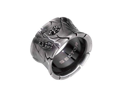 Sector SMY030-Anello da uomo in acciaio e cristalli neri, colore: bianco opaco, Acciaio inossidabile, 25, cod. SMY03025