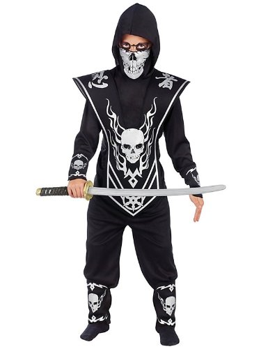 Boy's Silver Skull Ninja Lord Costume Bundle With Accessories ( SIZE L )