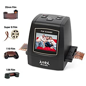 """Jumbl High-Resolution 4-In-1 22MP Scanner/Digitizer - Converts 35mm, 110, 126KPK and Super 8 Slides & Negatives & to 22-Megapixel Digital JPEGs - No Computer/Software Required to Operate - Features 2.4"""" Color LCD & TV Out - Speed-Load adapters for fast loading slides & Negatives"""