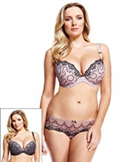 2 Pack Limited Collection Embroidered Padded DD-G Plunge Bra