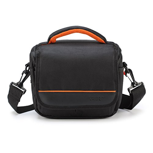 Caison Weather Protective Digital Camera DSLR Bridge Compact System Mirrorless Comfort Case Carry Messenger Shoulder Bag (Black / Orange Inset) (A7 Mark Ii Case Black compare prices)