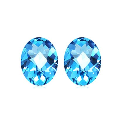 3.80 Cts of 9x7 mm AA Oval Checker Board Matching Loose Swiss Blue Topaz ( 2 pcs ) Gemstones