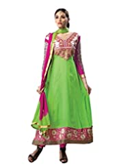 FadAttire Embroidered Party Wear Faux Georgette Anarkali Suit-Green-FAAV05