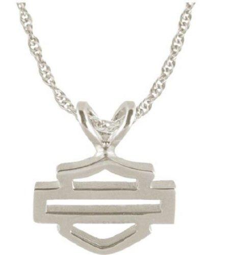Harley-Davidson® Stamper Women's 10K White Gold Bar & Shield Necklace. WN7117