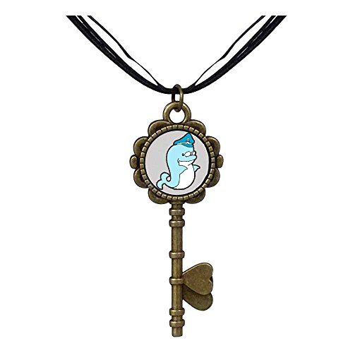 Giftjewelryshop Bronze Retro Style Cute Navy Dolphin Key To Her Heart Pendant Charm Necklaces