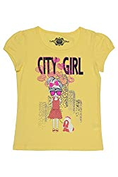 Chalk by Pantaloons Girl's Round Neck T-Shirt (205000005609251, Yellow, 3-4 Years)