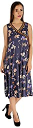 Holidae Women's Floral Print Dress (hi-dr-md-064_M, Gray, M)