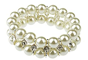 HONEYJOY Women Classical Two Rows Beige Beads Bracelet Simulate Waterfresh Pearl Strand Jewelry