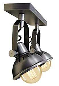 Industrial Vintage Twin Ceiling Light Fixture Dark Grey Pewter finish Brooklyn Style Adjustable Swivel Spot Lights made from Stainless Steel by Long Life Lamp Company