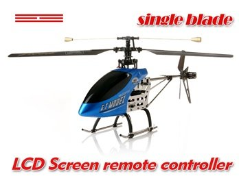 G.T.Model 9011 3.5-Channel Single Blade Metal RC Helicopter with Lights and LCD Remote Control (Bl