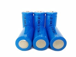 ON THE WAY®6 Pack 2000mAh 3.7V 16340 Battery Blue Li-ion Rechargeable Batteries