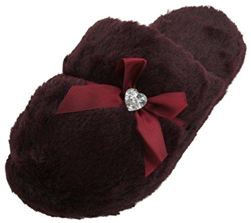 forever-dreaming-ladies-memory-foam-faux-fur-mule-slippers-plum-5-uk