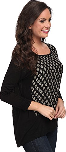 Lucky Brand Women's Ditzy Woodblock Top, Black/Multi, Small