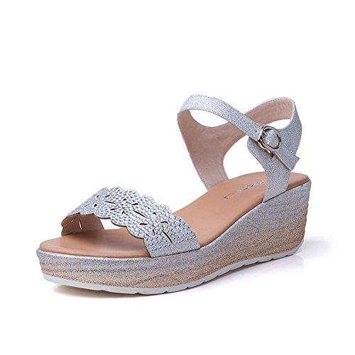 Ms dolce e calzate scarpe estive/Con strass fibbia donne sandalo e-B Lunghezza piede=24.3CM(9.6Inch)