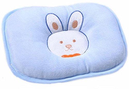 Hot Newborn Baby Boy Girl Anti-Roll Pillow Flat Head Sleeping Positioner Rabbit (Blue)