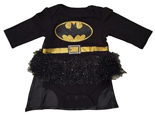 [Girls Tutu Batman Onesie with Detachable Cape] (Batman Outfit Baby)