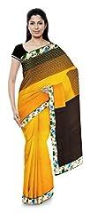 Priyam Sarees Women's Georgette Saree (Orange & Brown)