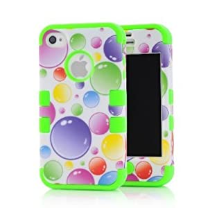 SHHR Plastic+Silicone Colorful Rainbow Bubbles Design Hybrid case for Apple iPhone4 4s 4G -Green Color from SHHR