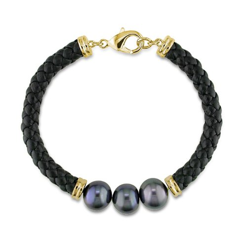 Brass Freshwater Black Pearl Black Leather cord Bracelet