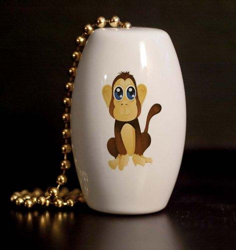 Safari Monkey Peeper Porcelain Fan / Light Pull front-954167