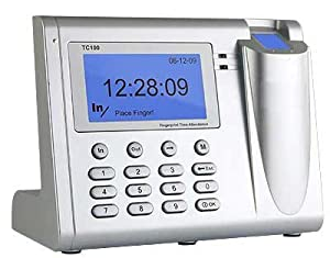 TC100 Biometric Fingerprint Employee Attendance Time Clock System with USB Cable