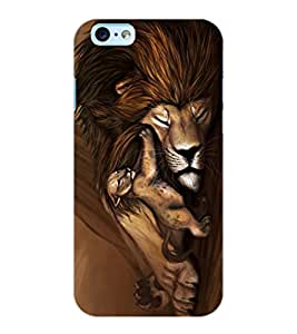 ColourCraft Lion and Cute Cub Design Back Case Cover for APPLE IPHONE 6
