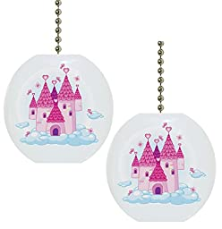 Set of 2 Castle with Clouds Fairytale Solid CERAMIC Fan Pulls