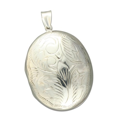 Sterling Silver Large Engraved Oval Locket On A 22 Inch Snake Necklace