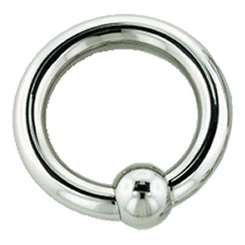 One Stainless Steel Captive Bead Ring with Stainless Steel Bead: 6g, 1/2