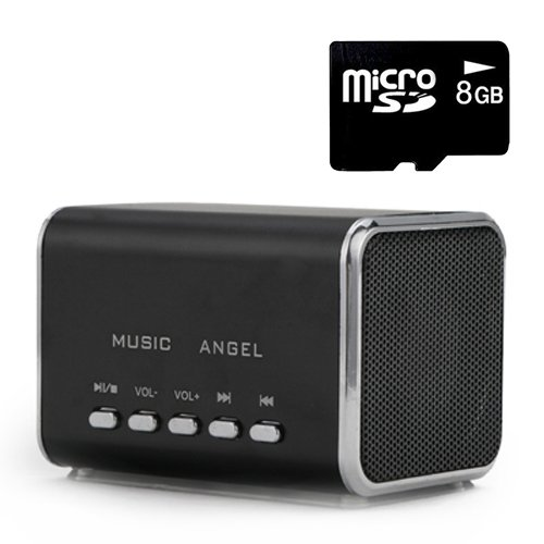 Hde Music Angel Portable Party Mini Speaker 150 Hz - 18000 Hz W/ Mini Sd Card (Black)