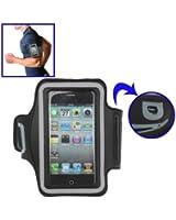 Brassard sport tour de bras noir pour iPhone 4 & 4S / iPhone 4 (CDMA) / iPhone 3GS / iPod Touch 4 idéal pour les sportifs, course à pied ou salle de sport avec trous pour écouteurs, bande réflechissante et pochette pour clé.