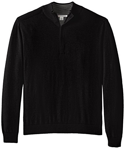Cutter & Buck Men's Broadview Half Zip Sweater, Black, Large