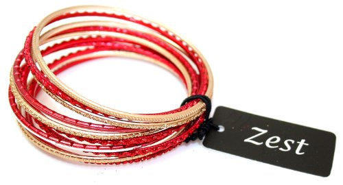 Zest Set of Glittery Red and Gold Bangles