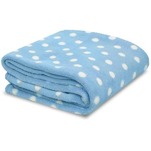 Little Starter Blue & White Polka Dot Soft Plush Baby Blanket