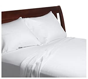 Divatex 230-Thread-Count Sateen Twin Sheet Set with Bonus Standard Pillowcases, White