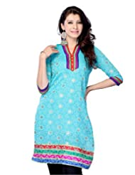 Miss & Mrs Women's Jacquard Turquoise Half Sleeve Kurti With Colorful Lace Border