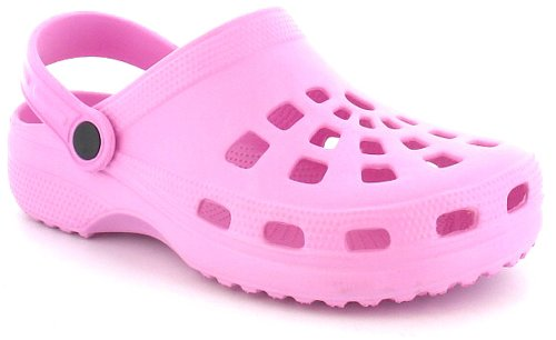 New Girls/Childrens Pink Eva Clogs With Moveable Back Strap - Pink - UK 10-2