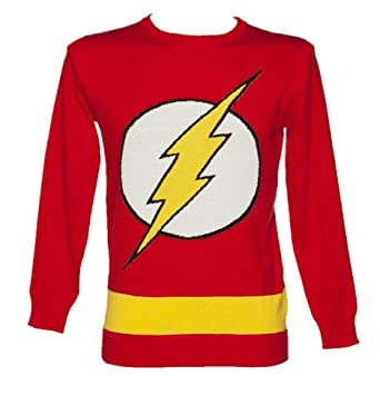 Mens Red Lightweight DC Comics Flash Jumper