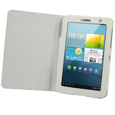 gada - Handyhülle für Samsung Galaxy Tab 2 II 7.0 (P3110 / P3100 / P3113) Leder-Imitat Tasche Case Etui Schutzhülle Weiss Weiß - weich gefüttert