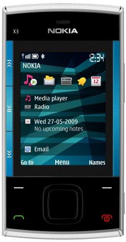 Nokia X3 Handy (Ovi, UKW Radio, 3,2 MP) blue silver