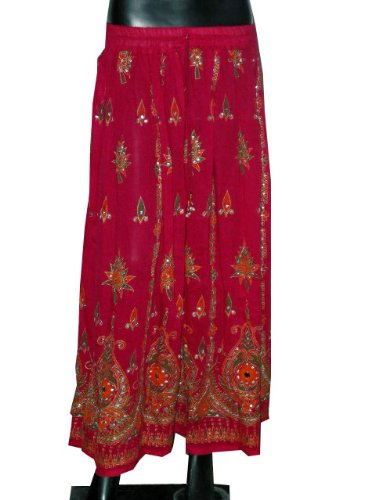 Long Skirt- Deep Pink Crinkled Beaded Bohemian Dcrapechic Chic Womens Summer Fashion India Skirt