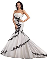 96568a6e9fe Check Price Review GEORGE BRIDE Mermaid Net Over Satin Chapel Train Wedding  Dress With Black Appliques - review shop