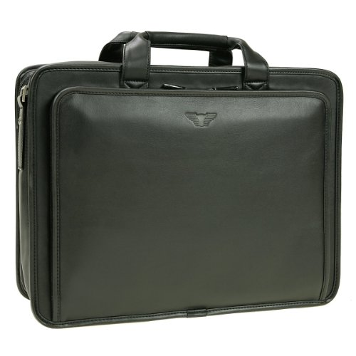 Offermann City Aktentasche aus Leder mit Laptopfach 42 cm (schwarz)