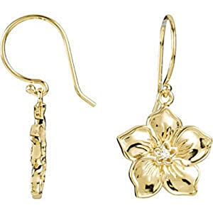 IceCarats Designer Jewelry 14K Yellow Gold Forget Me Not Earrings. Earring Pair