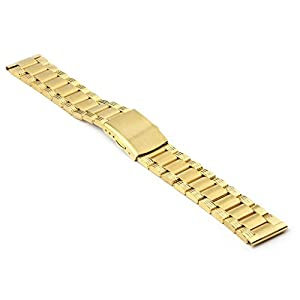 StrapsCo Yellow Gold Tone Heavy Stainless Steel Watch Band in size 18mm