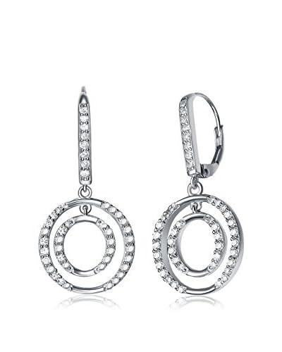 Genevive CZ & Sterling Silver Double Circle Drop Earrings